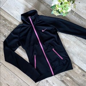 Nike Black Zip Up Athletic Top Dri Fit Small